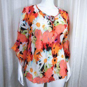 Ninety Orange Daisy Blouse